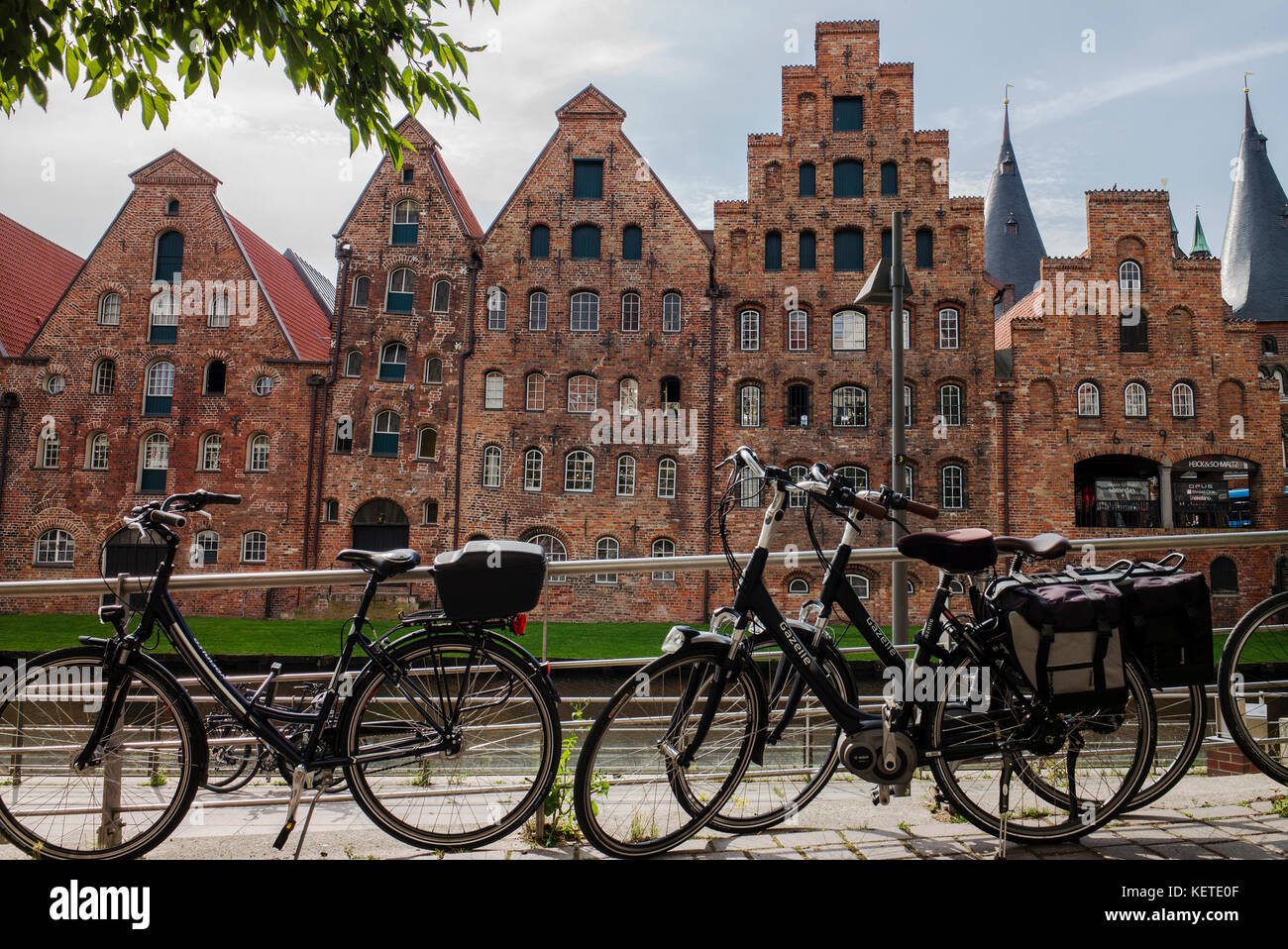 lubeck The Salzspeicher,salt storehouses,red brick buildings on the river,Lübeck, Germany - Stock Image