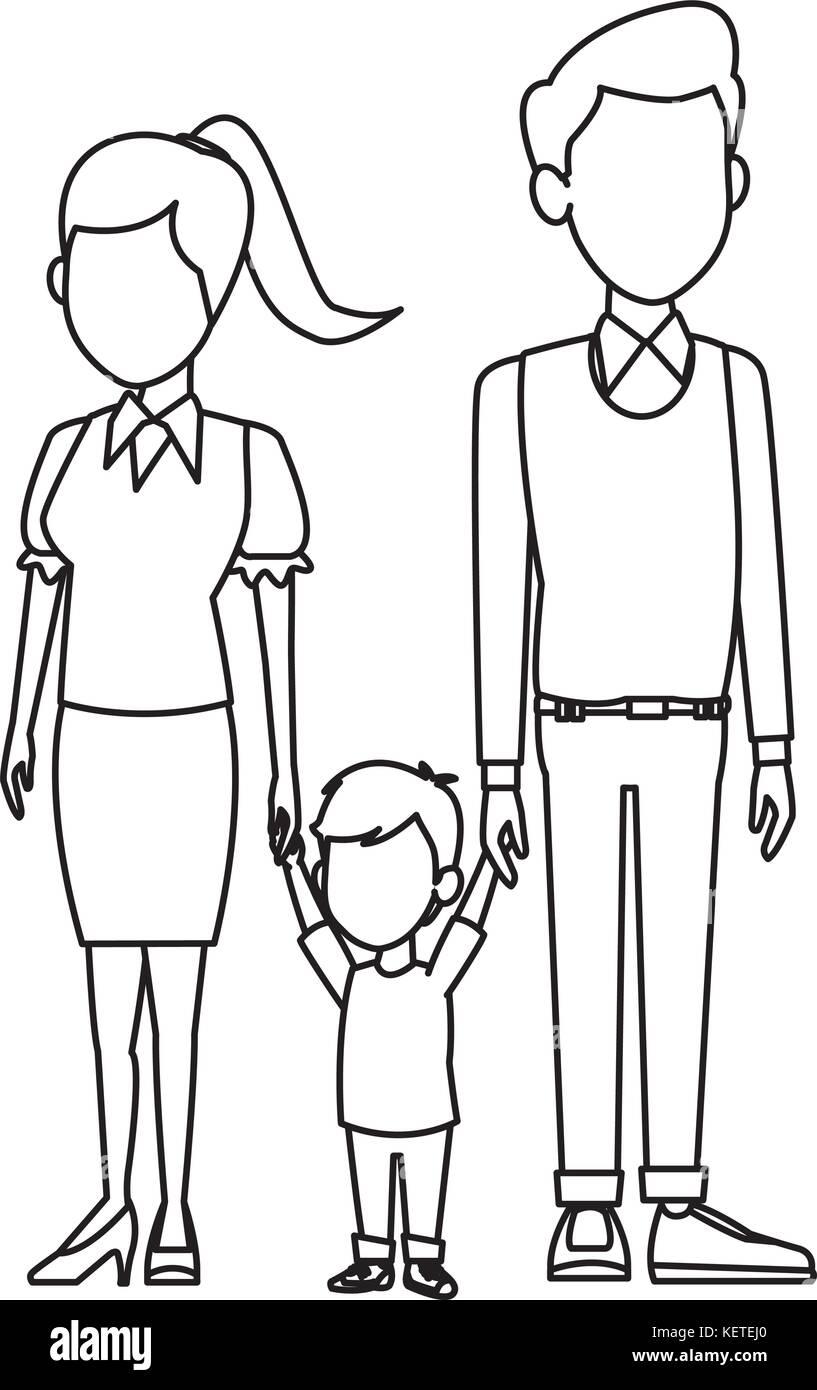 Family Cartoon Black And White Stock Photos Images Alamy