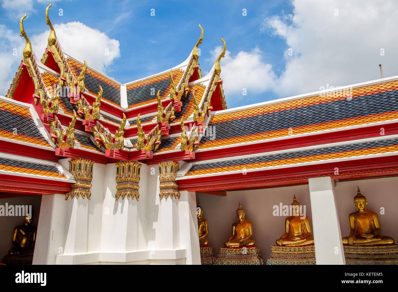 Ornate colourful roofs at Wat Pho, Bangkok, Thailand - Stock Image