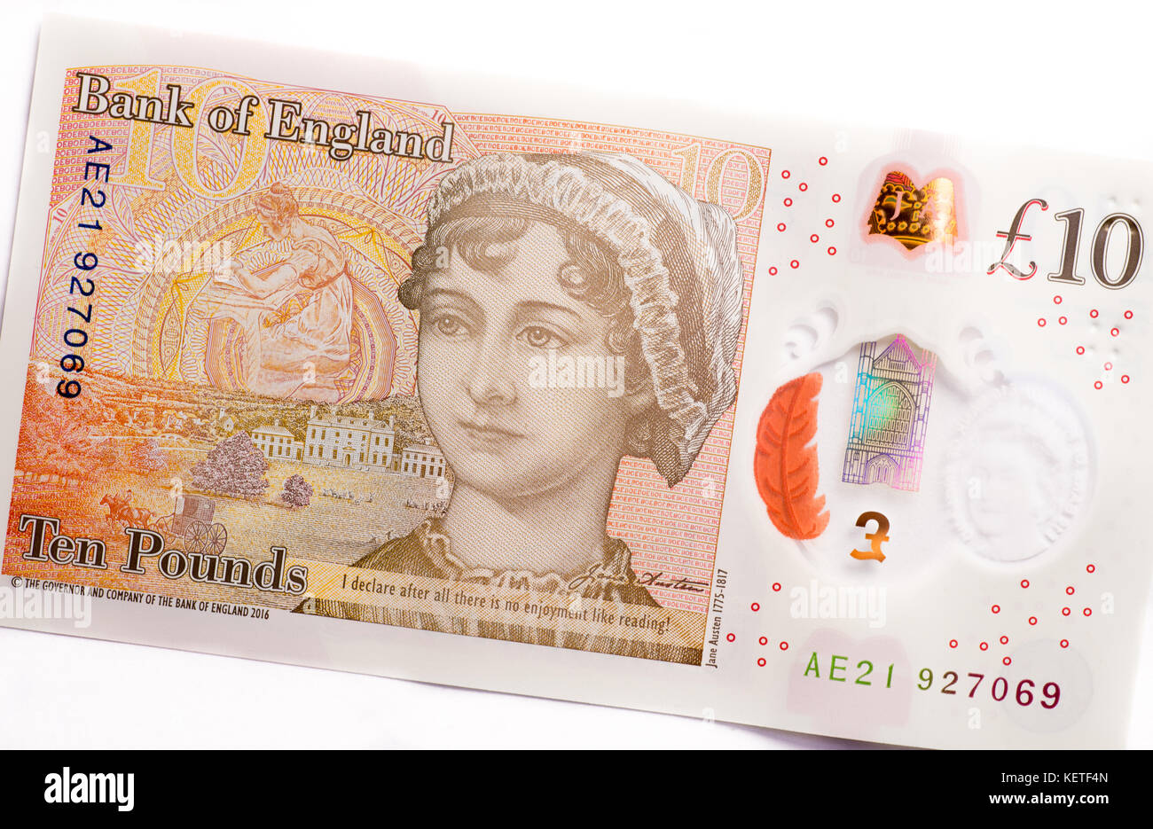 2017 new British ten pound note featuring the author Jane Austin, made from plastic polymer - Stock Image