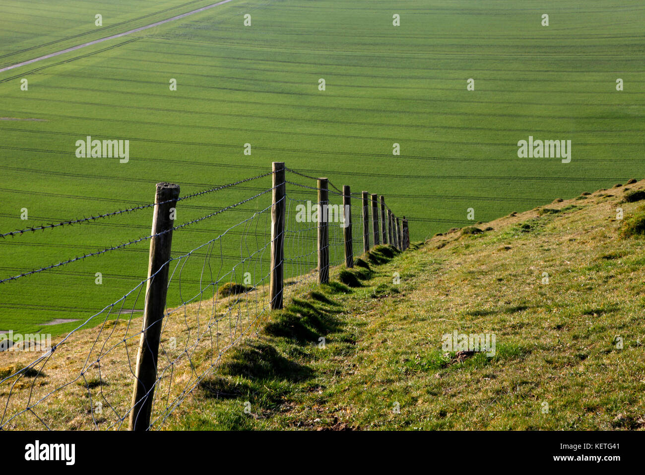 A barbed wire fence descending steeply on chalk downland in Wiltshire. - Stock Image