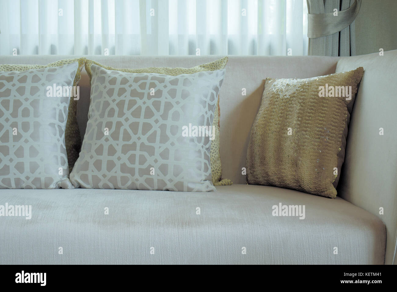 Beautiful Silver And Gold Color Pillows On Beige Sofa Stock Photo Alamy