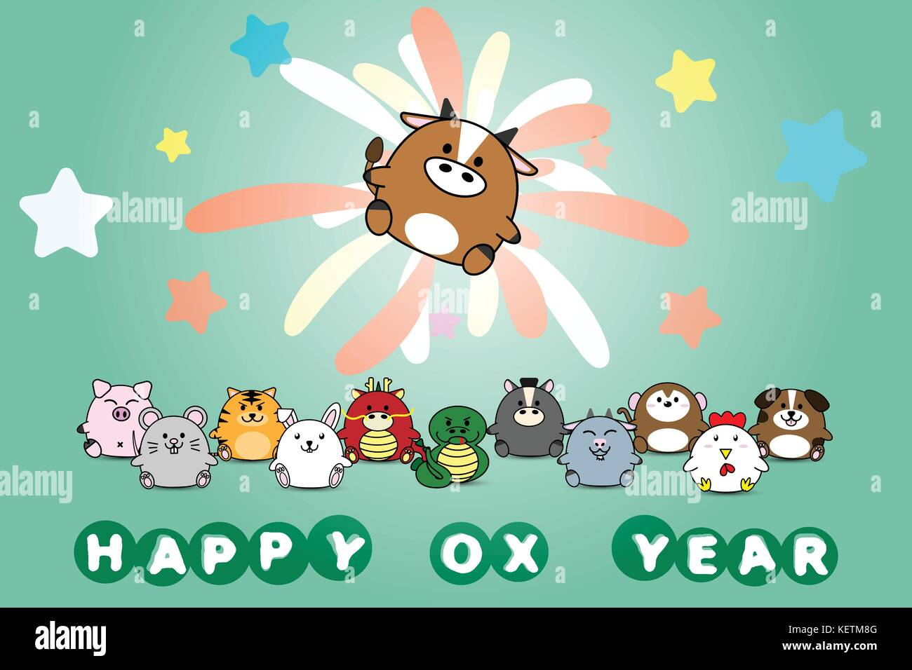 Happy new year for Ox year of animal symbol Chinese zodiac