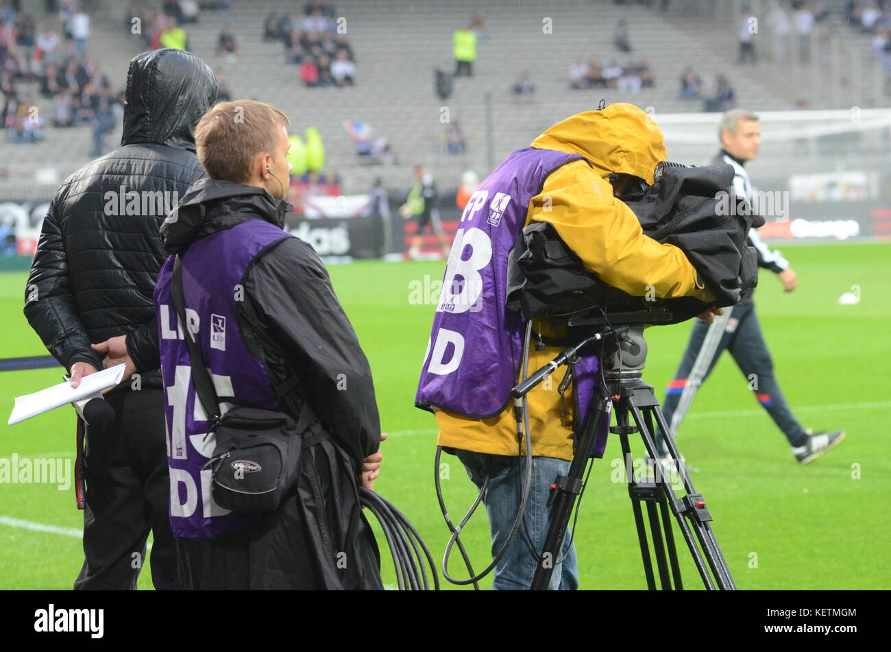 Television cameramen at Gerland stadium, Lyon, France - Stock Image