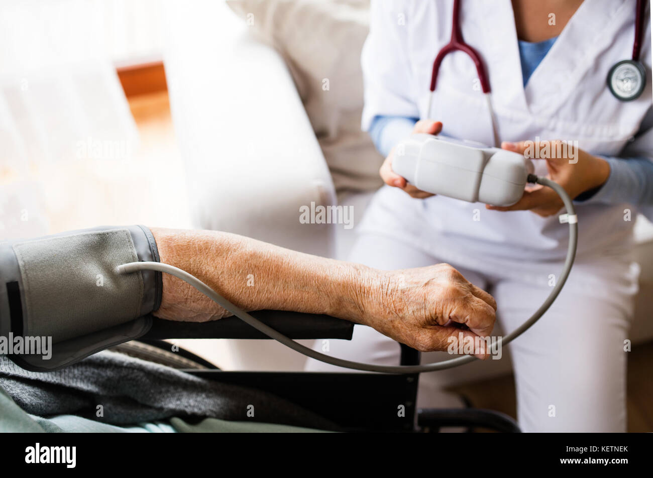 Unrecognizable health visitor and a senior woman during home vis - Stock Image
