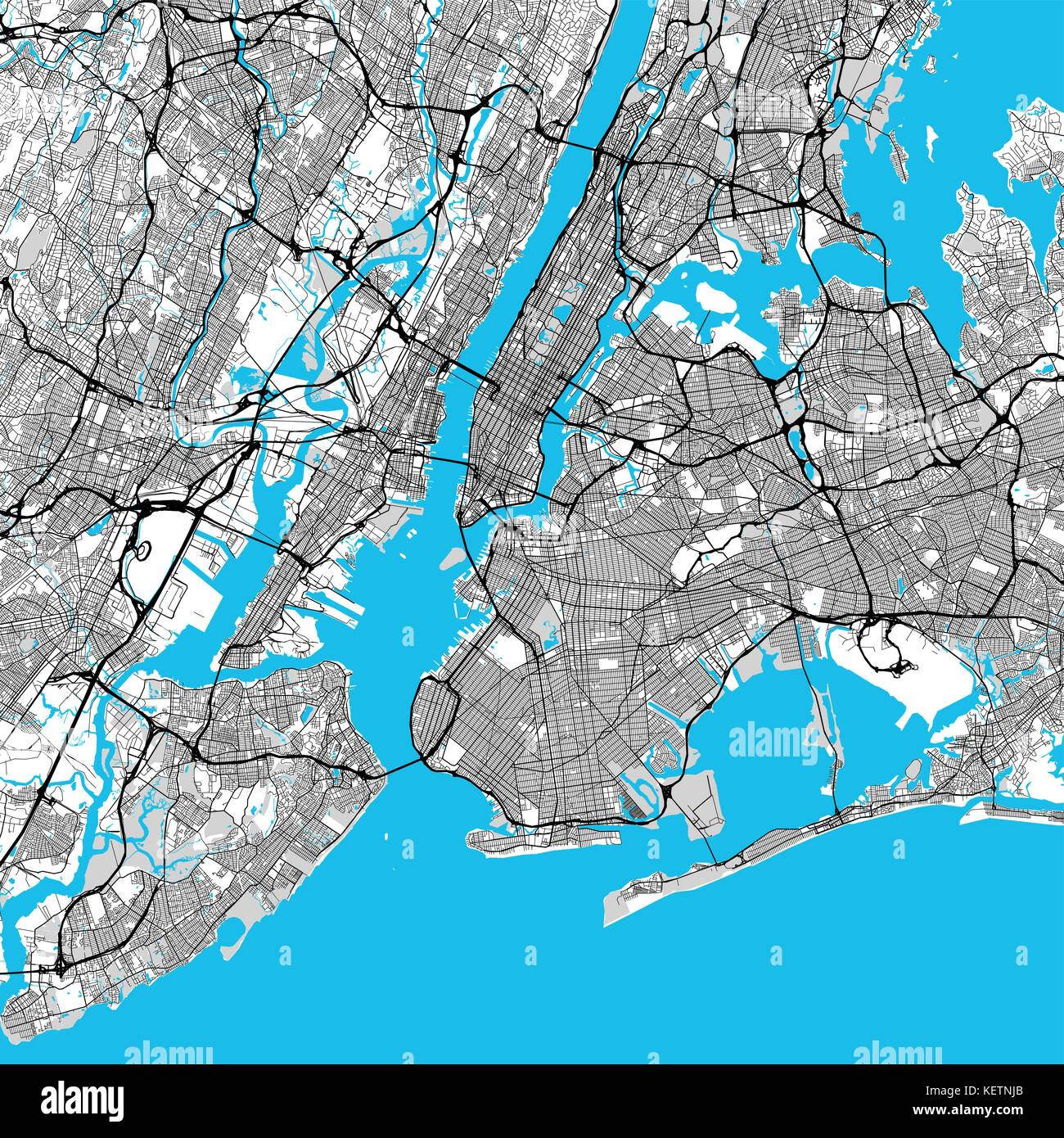 new york city big area map downtown manhattan brooklyn jersay city in very rich details very large vector file