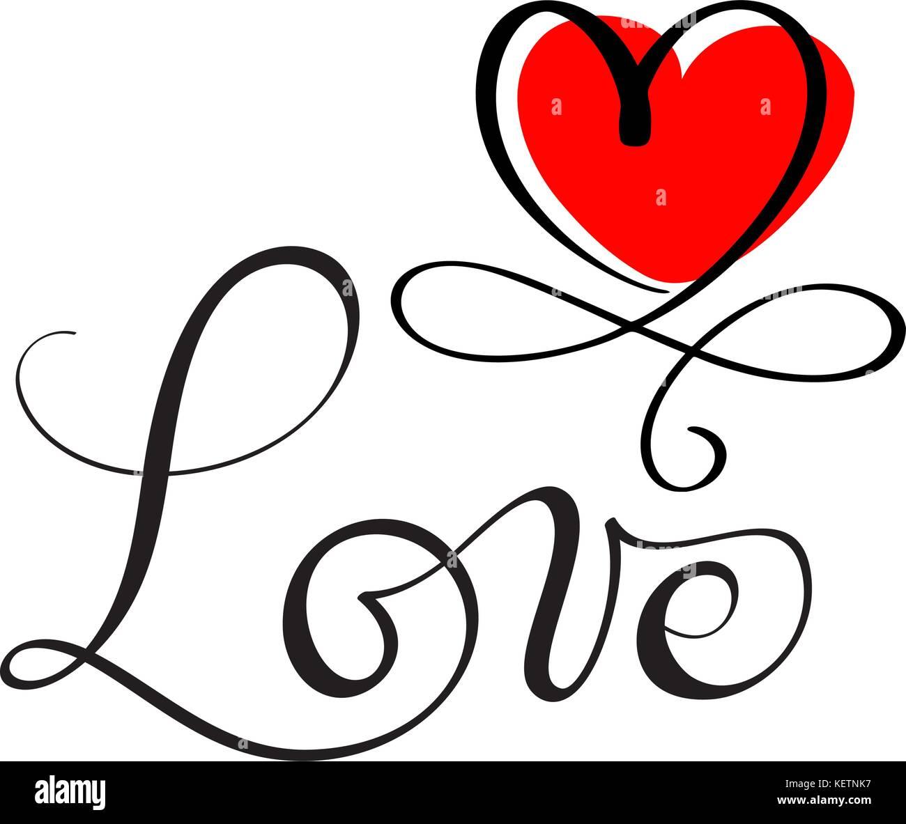 LOVE original custom hand lettering, handmade calligraphy, design element of the red heart flourish - Stock Image