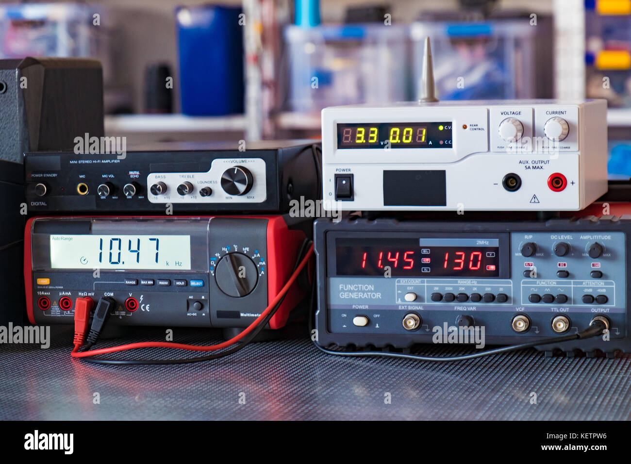 Measuring instruments in the laboratory of physics and electronics - Stock Image