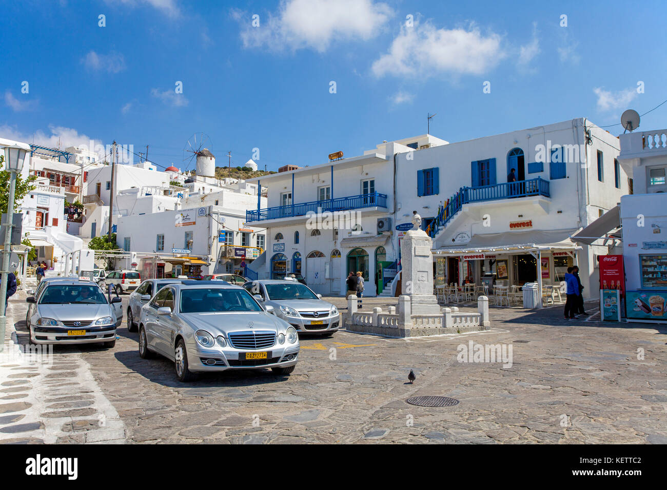 Taxi station at Mykonos-town, Mykonos, Cyclades, Greece, - Stock Image