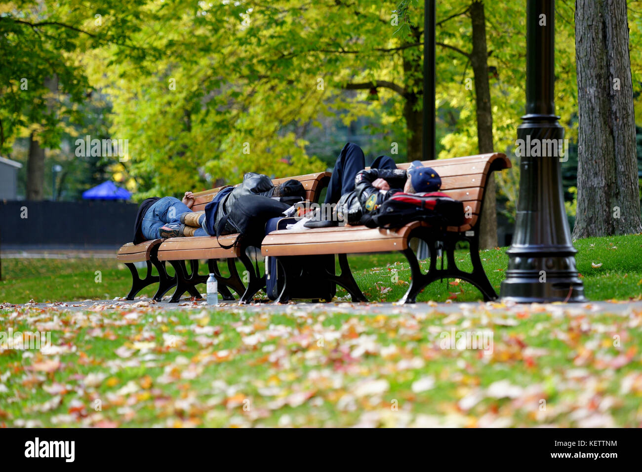 Montreal,Canada,22 October,2017.Homeless men sleeping on a park bench in Montreal's downtown core.Credit:Mario - Stock Image