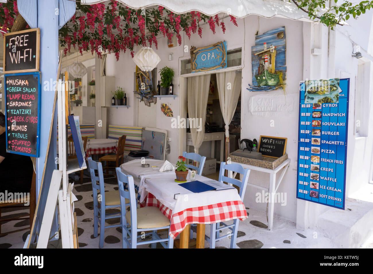 Typical greek restaurant at Mykonos-town, Mykonos,Greece - Stock Image