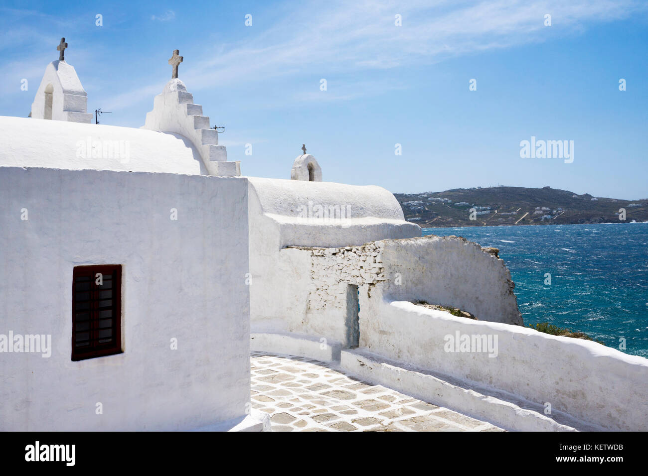 Backside of famous Panagia-Paraportiani  church at Mykonos-town, Mykonos, Greece - Stock Image