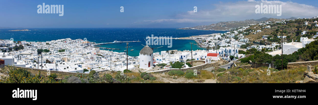 Panoramic view on Mykonos-town with old harbour, Mykonos, Greece - Stock Image