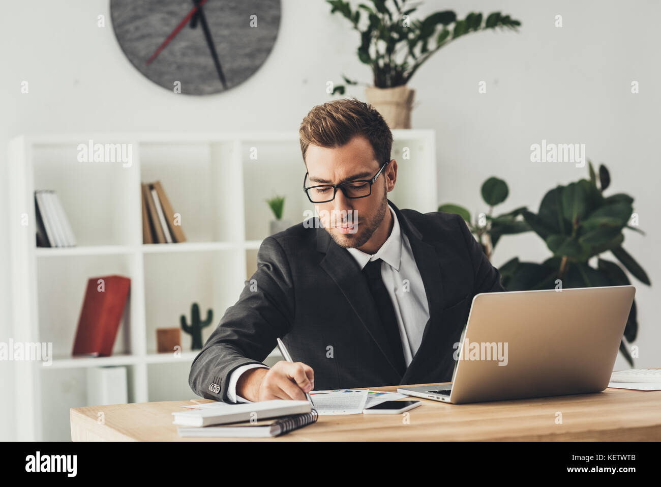 businessman working in modern office Stock Photo