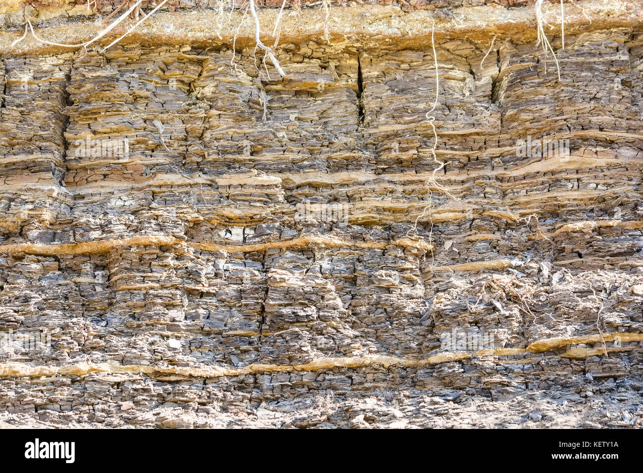 Layers of sedimentary sandstone rock Stock Photo