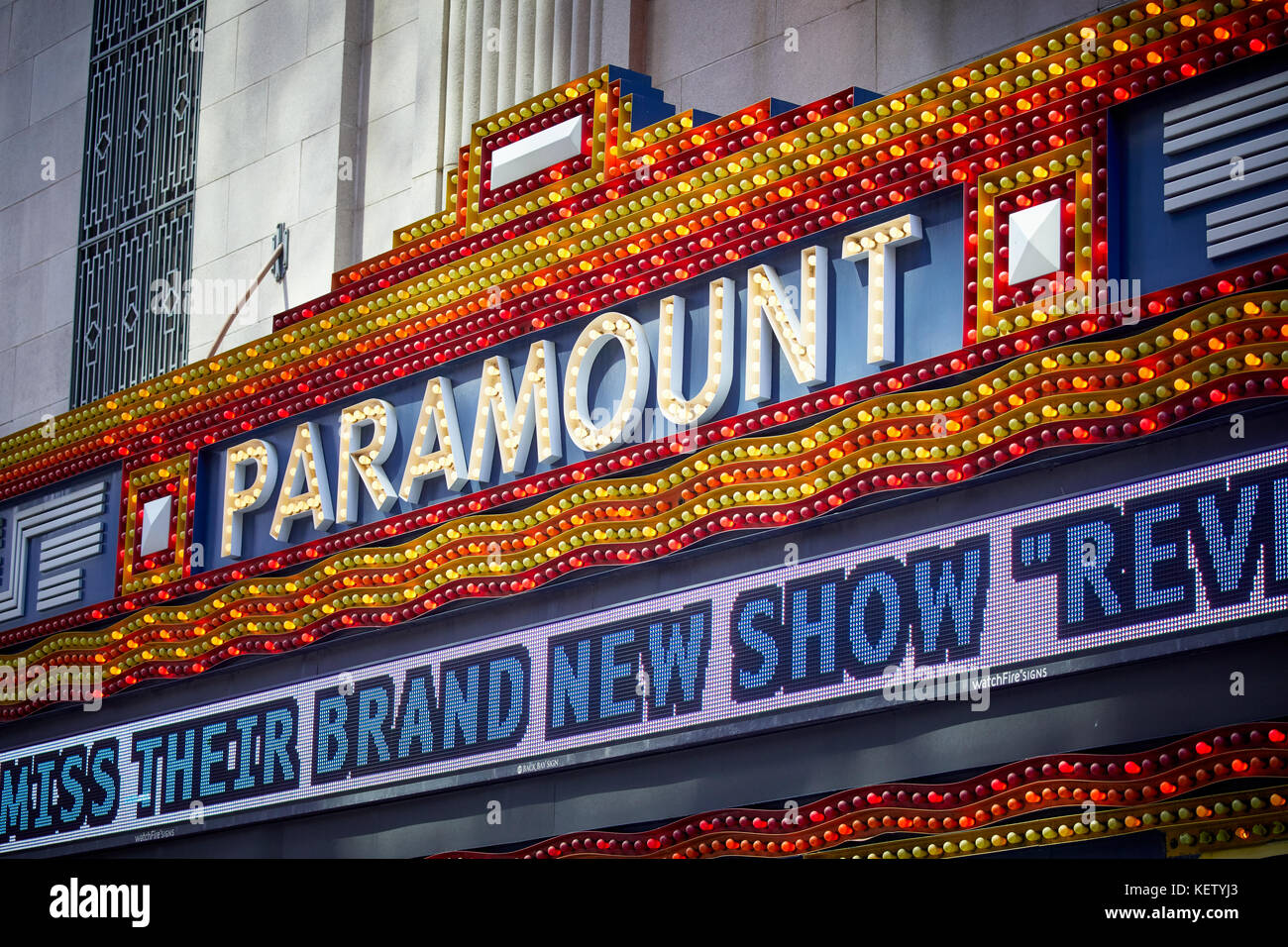 Boston Massachusetts New England North America USA , exterior street sign Paramount theatre cinema  Washington Street - Stock Image