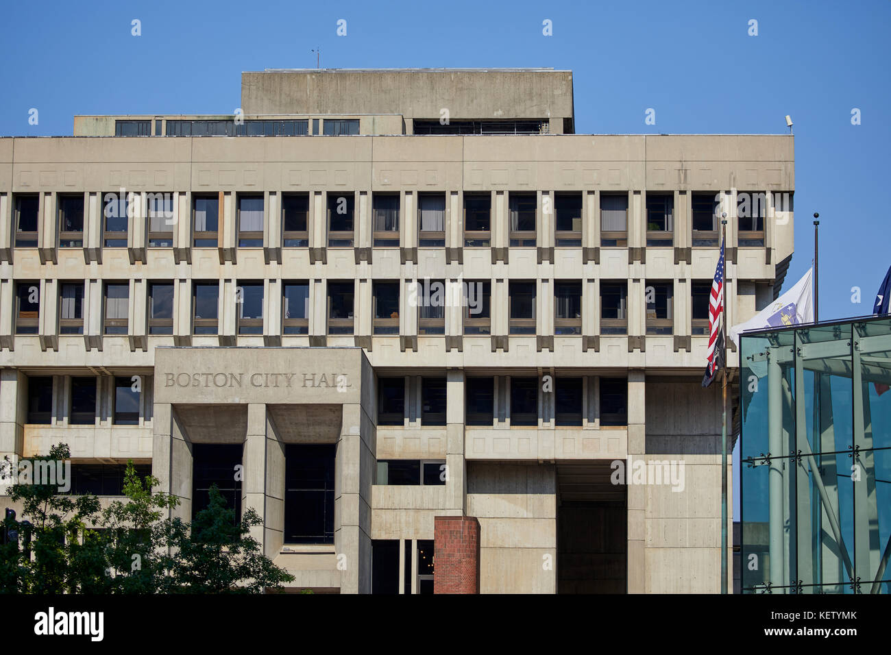 Boston Massachusetts New England North America USA , City Hall government building brutalist architectural style - Stock Image