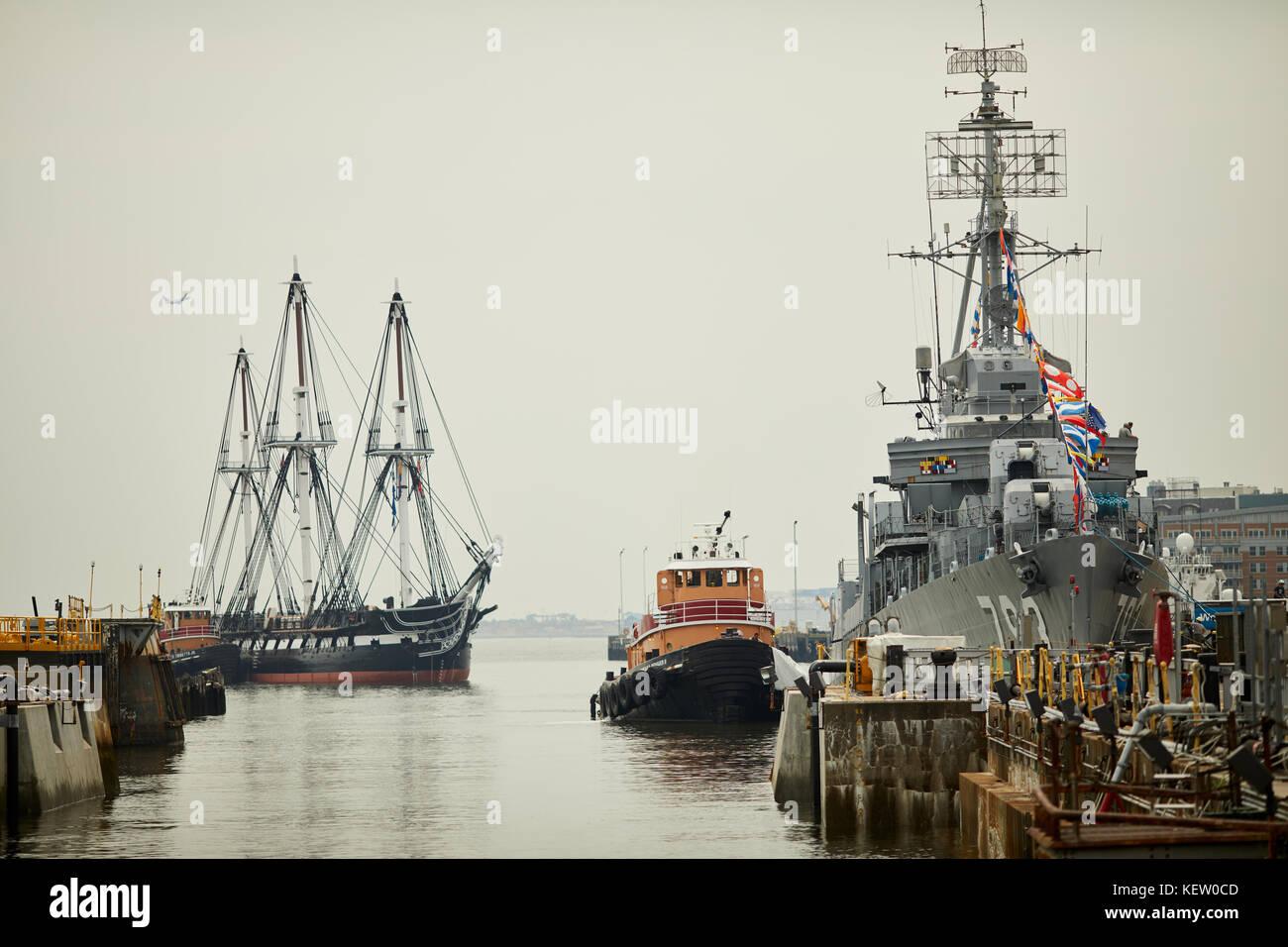 Boston Massachusetts New England North America USA, Navy Yard landmarks USS DD-793 and three-masted heavy frigate Stock Photo