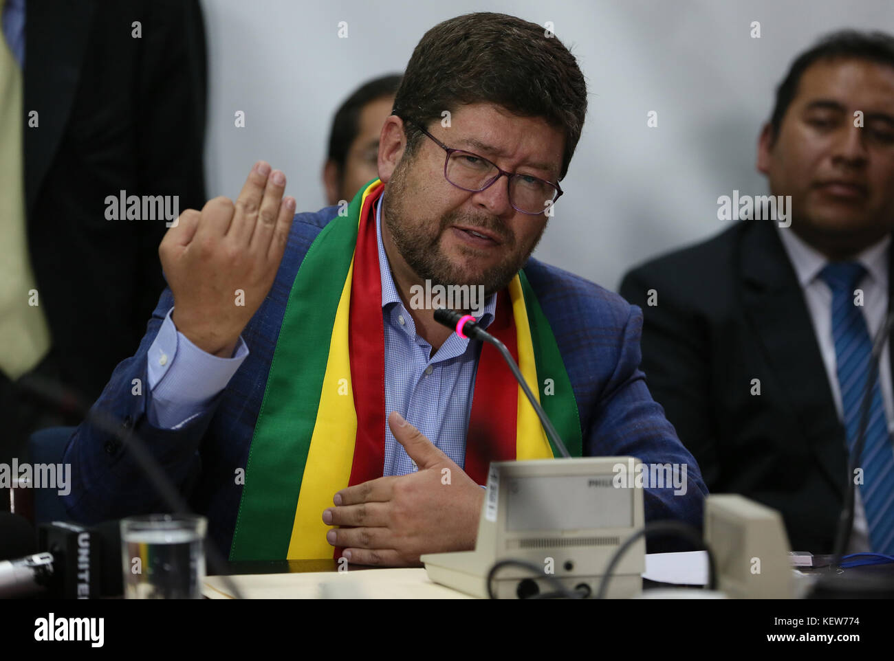 La Paz, Bolivia. 23rd Oct, 2017. Former presidential candidate Samuel Doria Medina speaks before the Special Commission - Stock Image