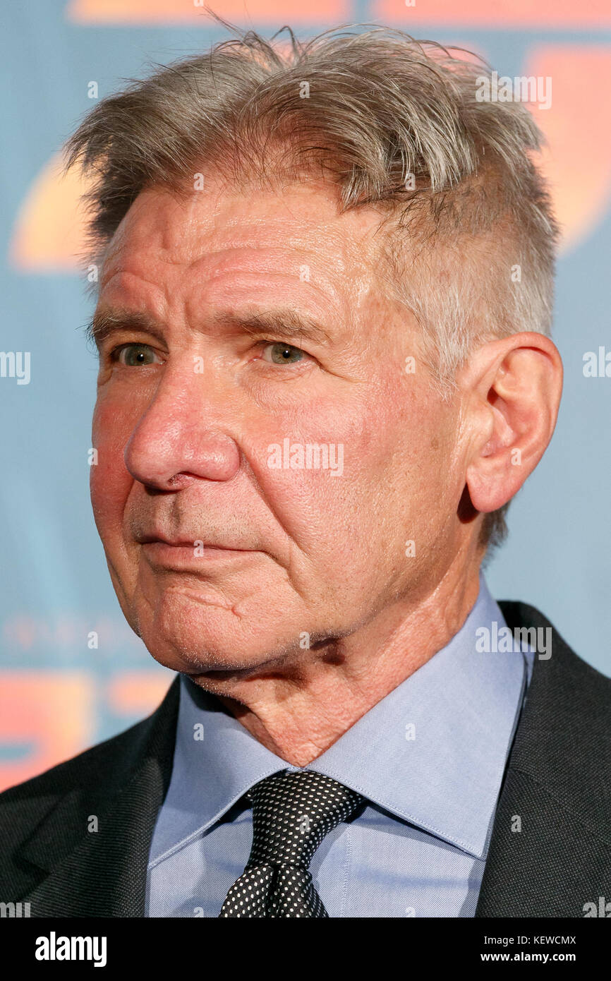 Tokyo, Japan. 23rd October, 2017.   American actor and film producer Harrison Ford speaks during a Japan Premiere - Stock Image