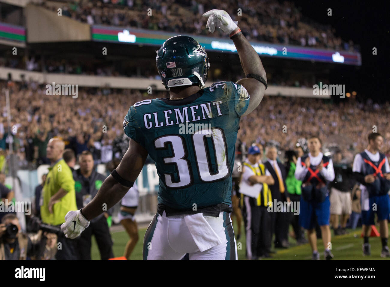 October 23, 2017: Philadelphia Eagles running back Corey Clement (30) reacts to his touchdown catch during the NFL - Stock Image