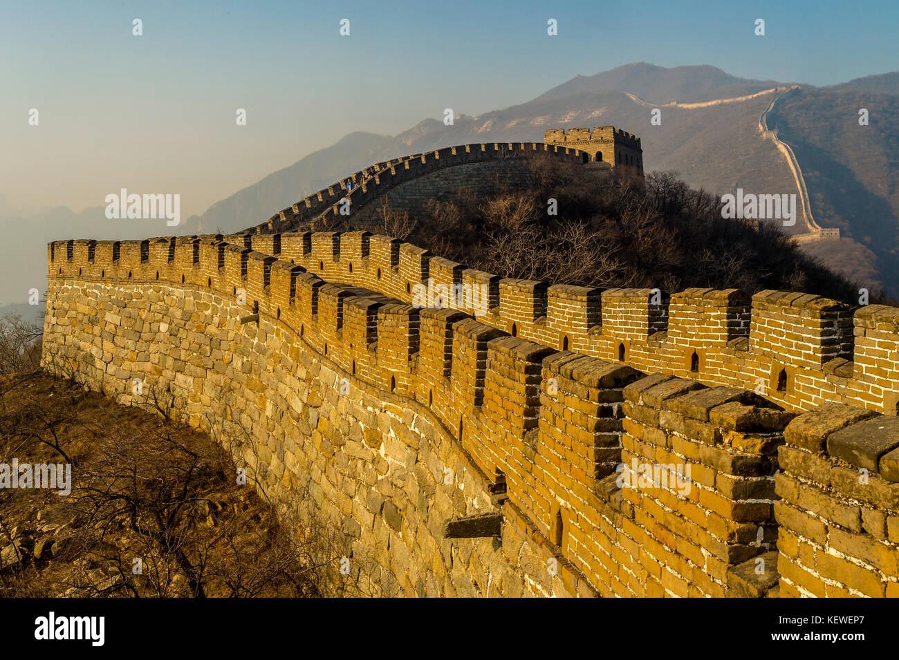 asia cina beijing travel Great Wall of Mutianyu landscape Stock Photo