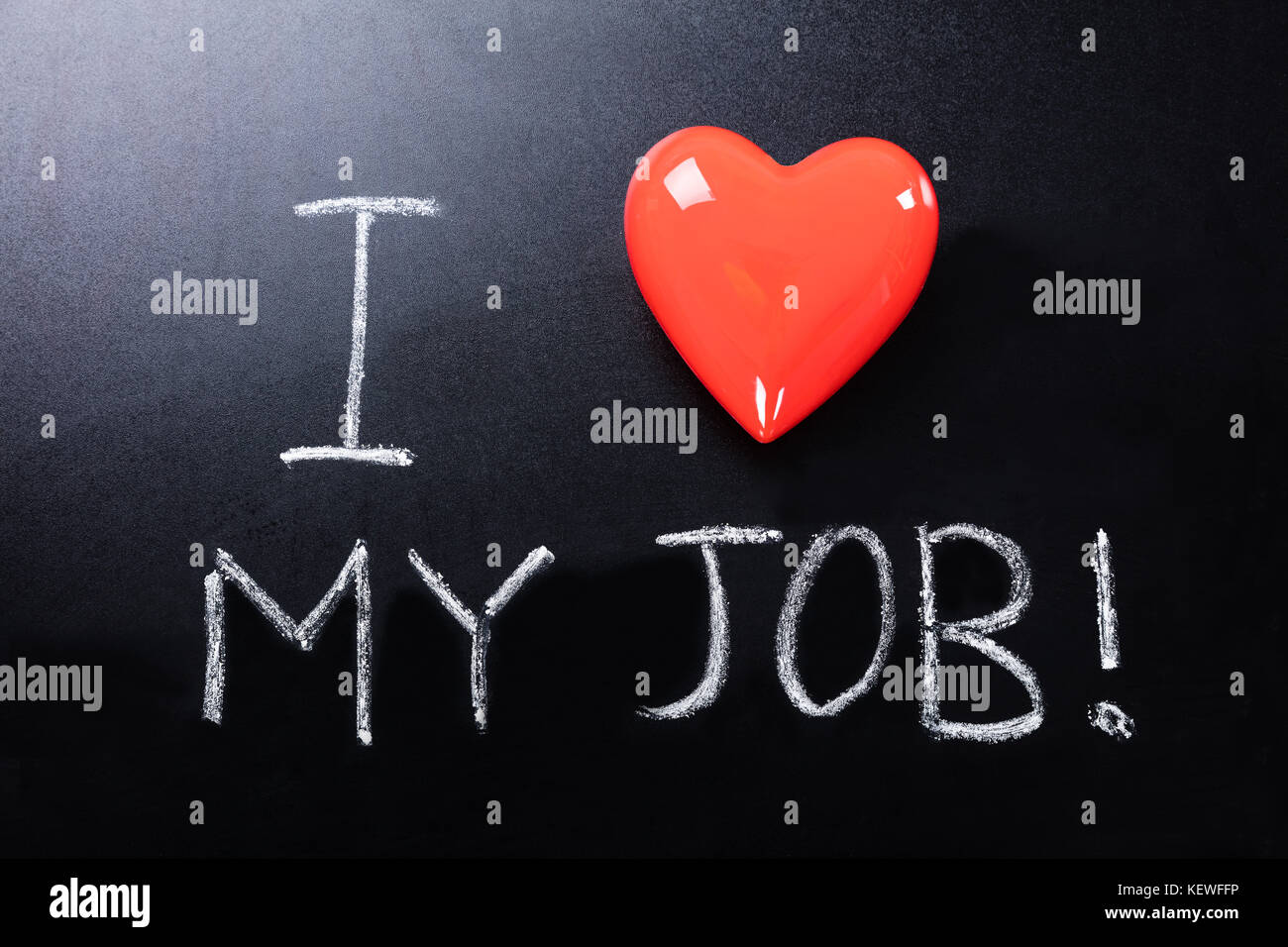 Close-up Of I Love My Job Text Written On Blackboard - Stock Image