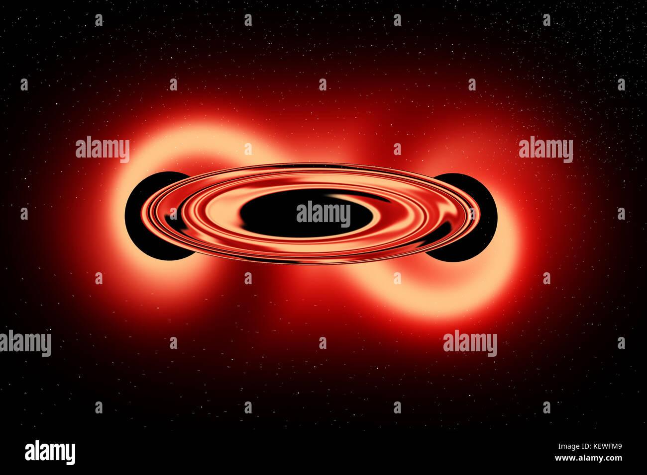 2 Black Holes Merging To Form A Supermassive Black Hole - Stock Image