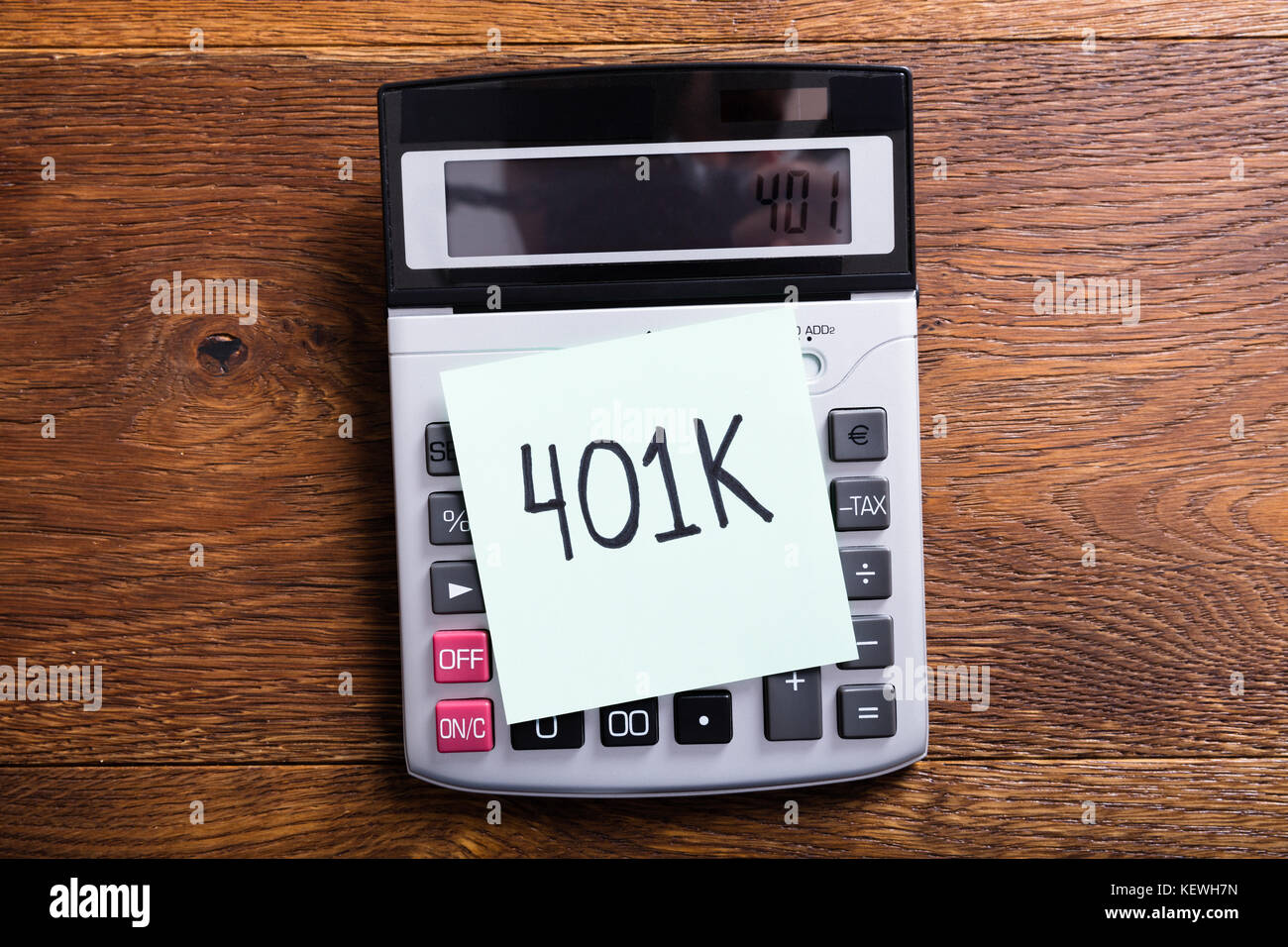 High Angle View Of A Budget Of 401k In Calculator At Wooden Desk ...