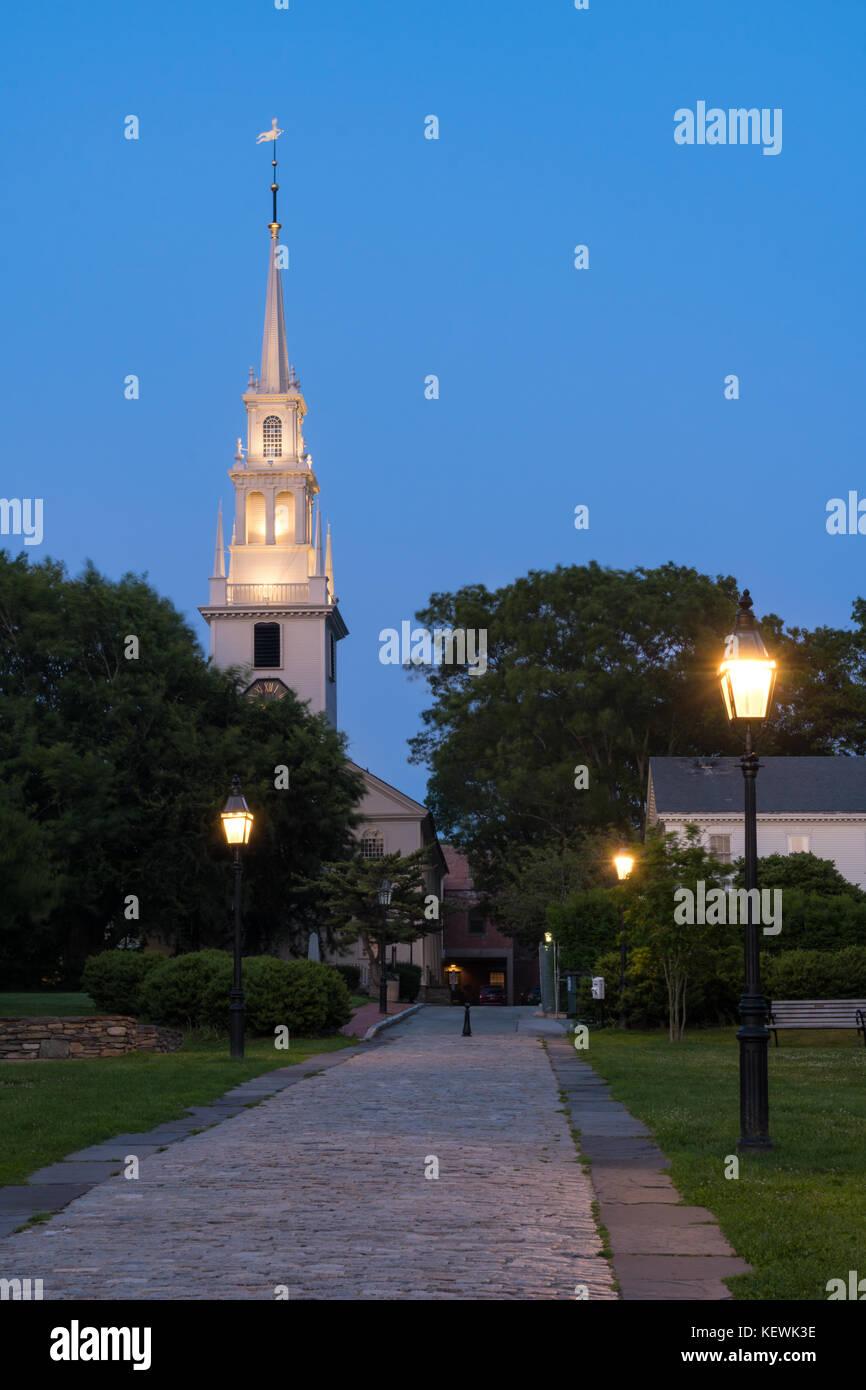 Trinity Church at Blue Hour, Newport, Rhode Island - Stock Image