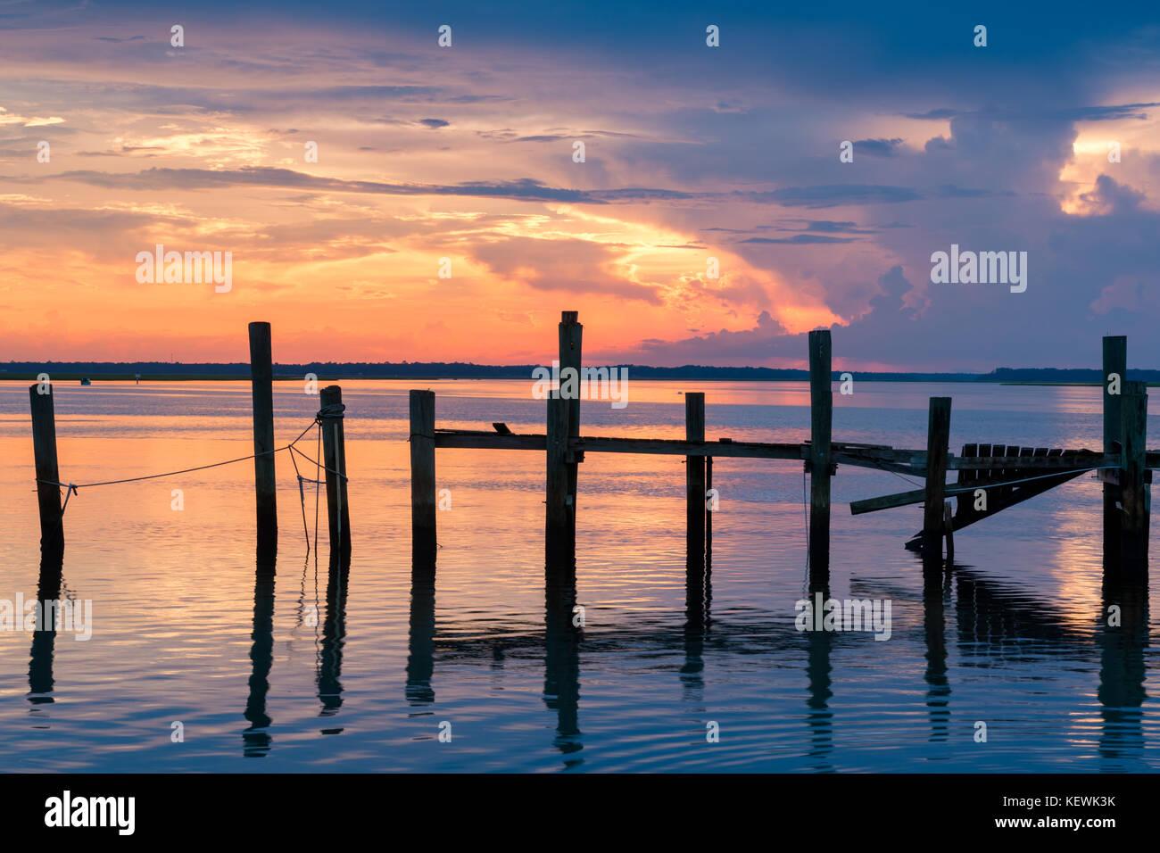 Beautiful Sunset at the Old Shrimp Boat Dock, Amelia Island, Florida - Stock Image