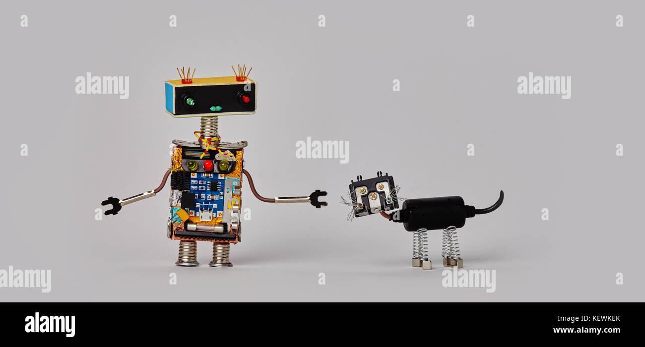 Funny robotic character black cyborg cat pet  gray