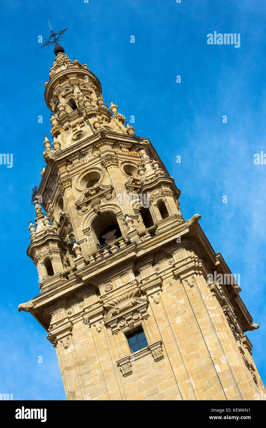 La Torre tower by the cathedral in Santo Domingo de La Calzada on the Way of St James pilgrim route Camino de Santiago - Stock Image