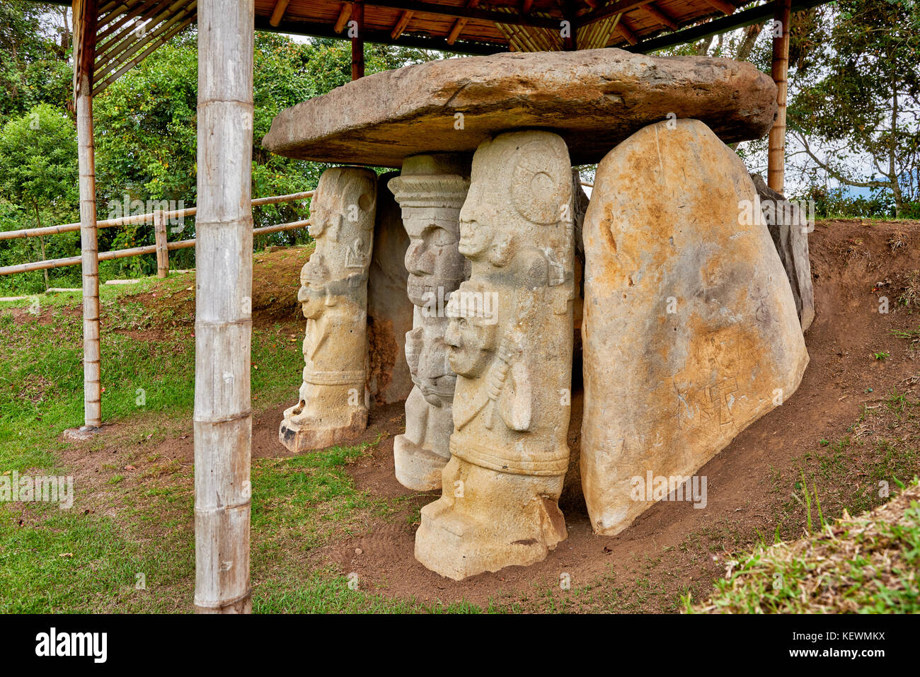 Precolombian statues in Mesita A of archaeological park Parque Arqueologico De San Agustin, Colombia, South America - Stock Image