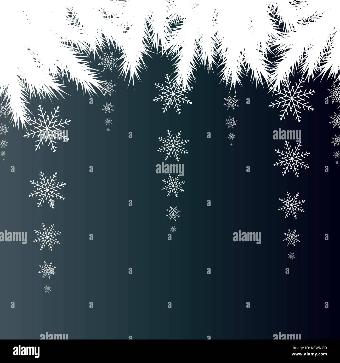 Christmas card. Winter background with spruce branches with snow - Stock Vector