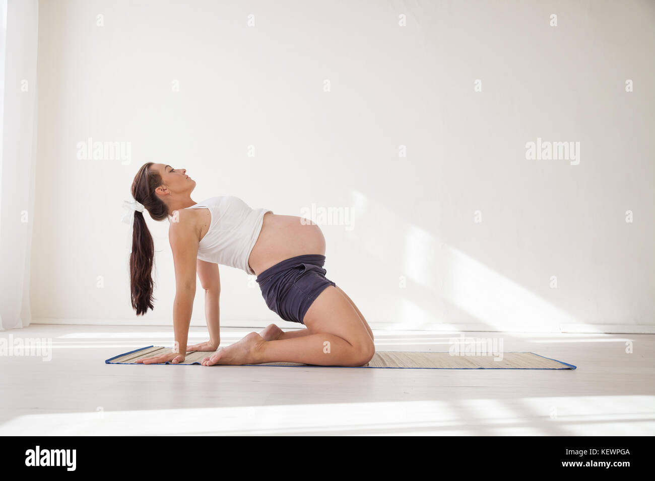 a pregnant woman is engaged in gymnastics and yoga - Stock Image