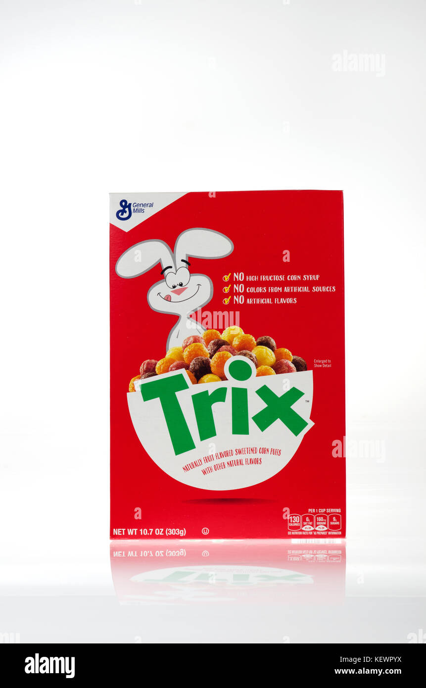 Unopened box of General Mills Trix Cereal 2017 with no artificial flavors, no high fructose corn syrup, no colors - Stock Image