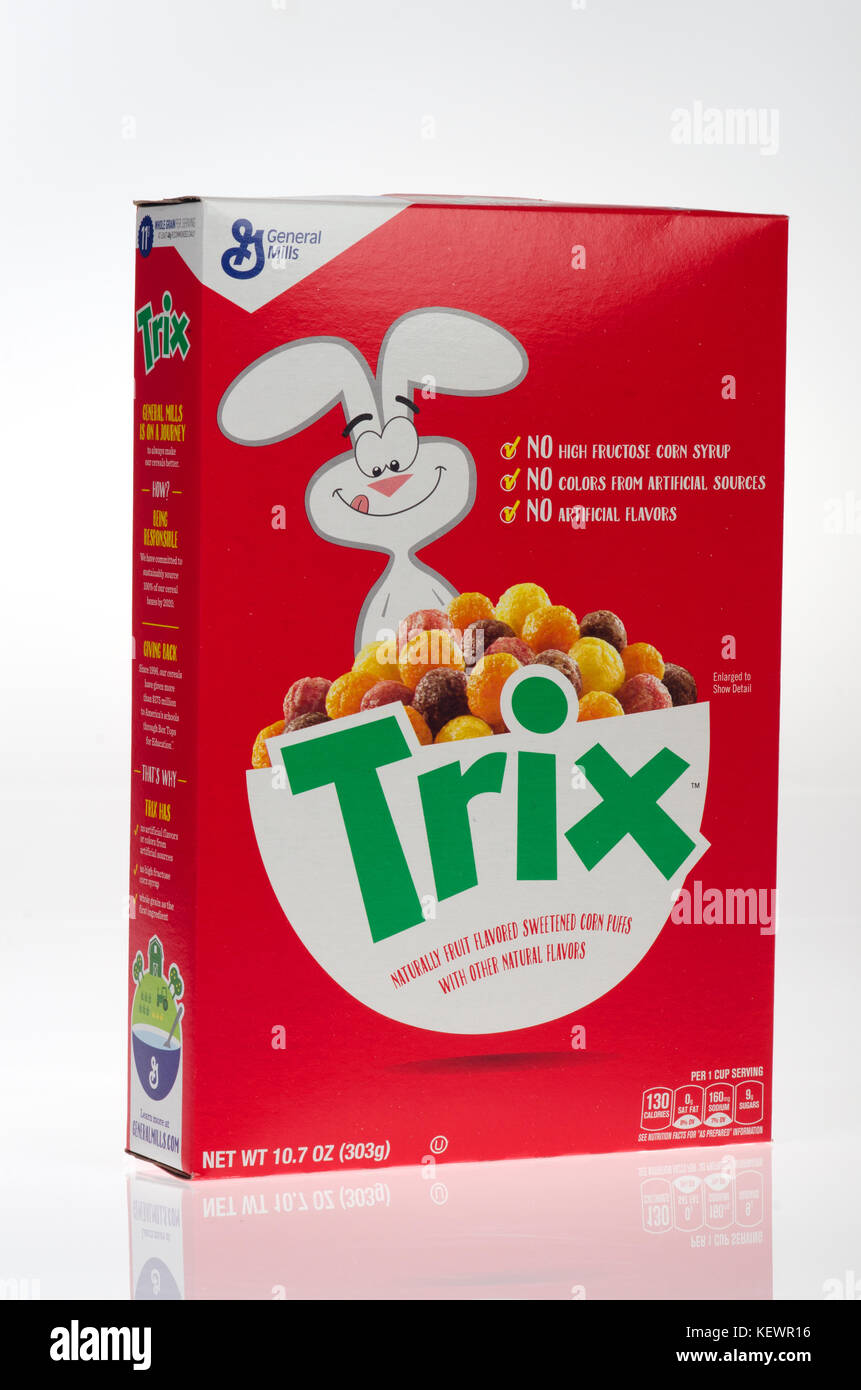 Not opened box of General Mills Trix Cereal 2017 with no artificial flavors, no high fructose corn syrup, no colors - Stock Image