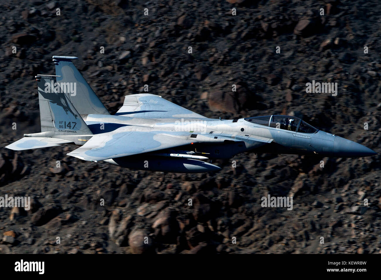 United States Air Force McDonnell-Douglas F-15C Eagle (86-147) from the 144th Fighter Wing, California Air National - Stock Image