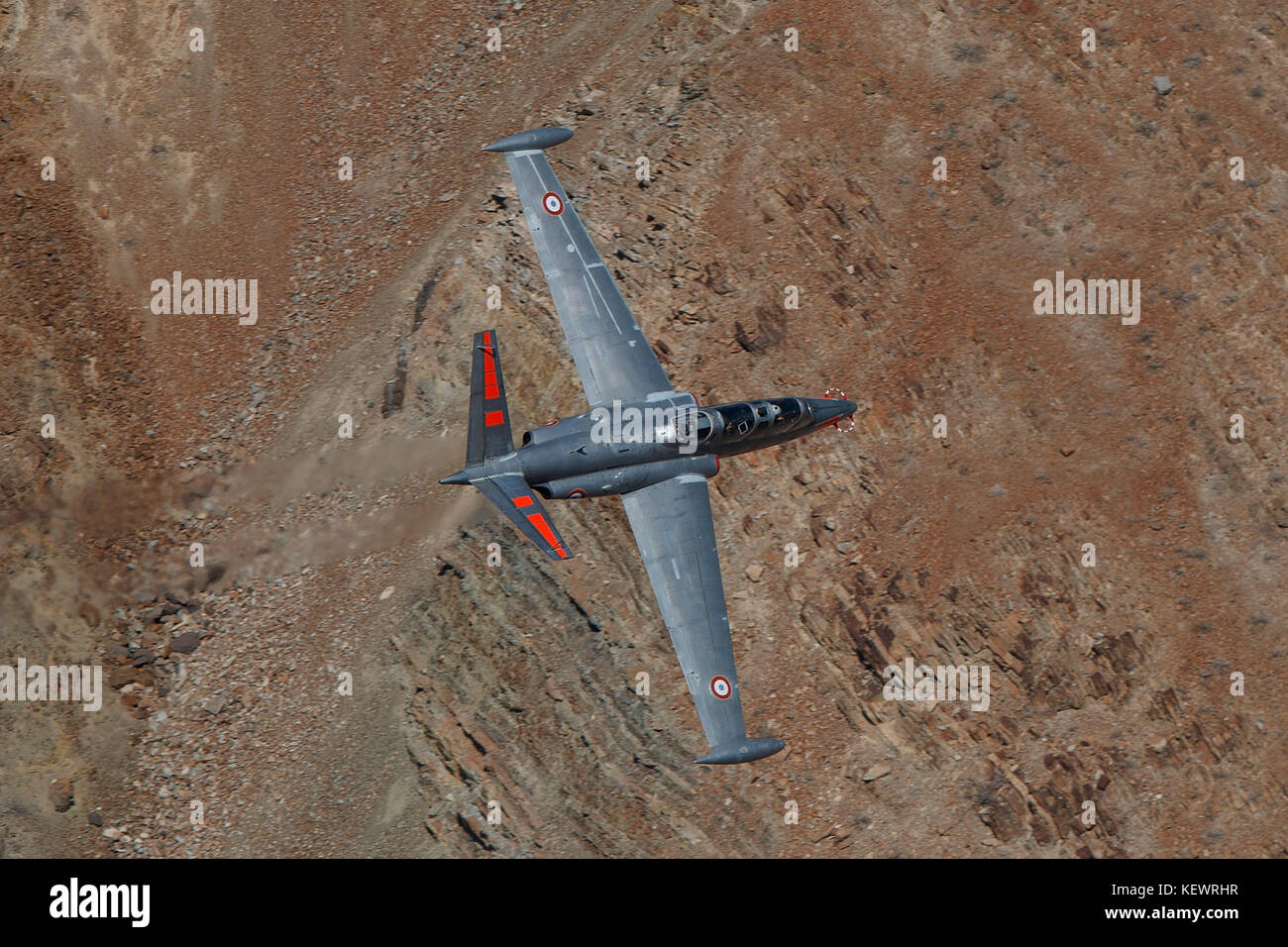 Fouga CM-170 Magister (N315MB) flies low level on the Jedi Transition through Star Wars Canyon / Rainbow Canyon, - Stock Image