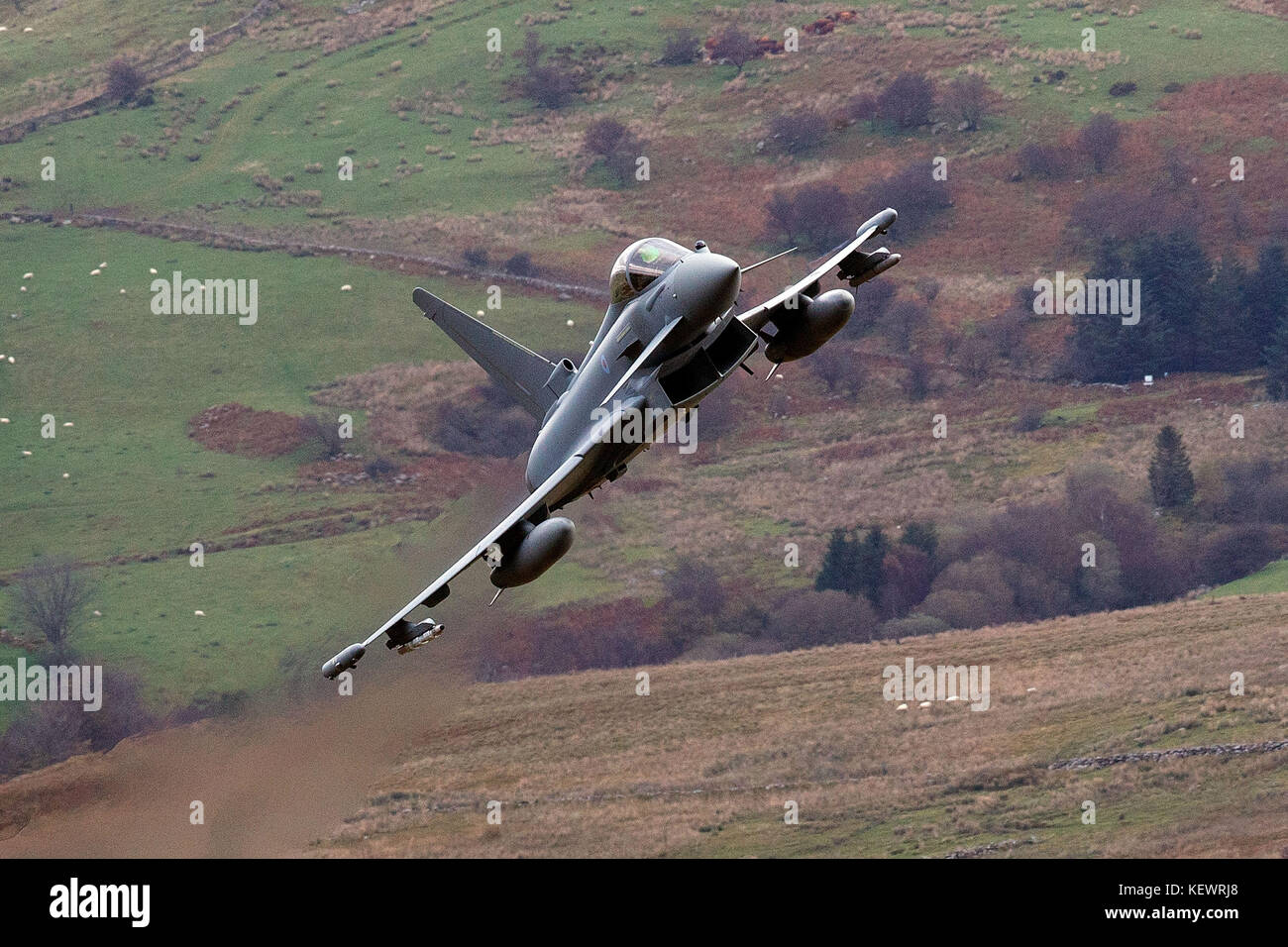 Royal Air Force Eurofighter Typhoon FGR4 flies low level through the Mach Loop, Machynlleth, Wales, United Kingdom - Stock Image