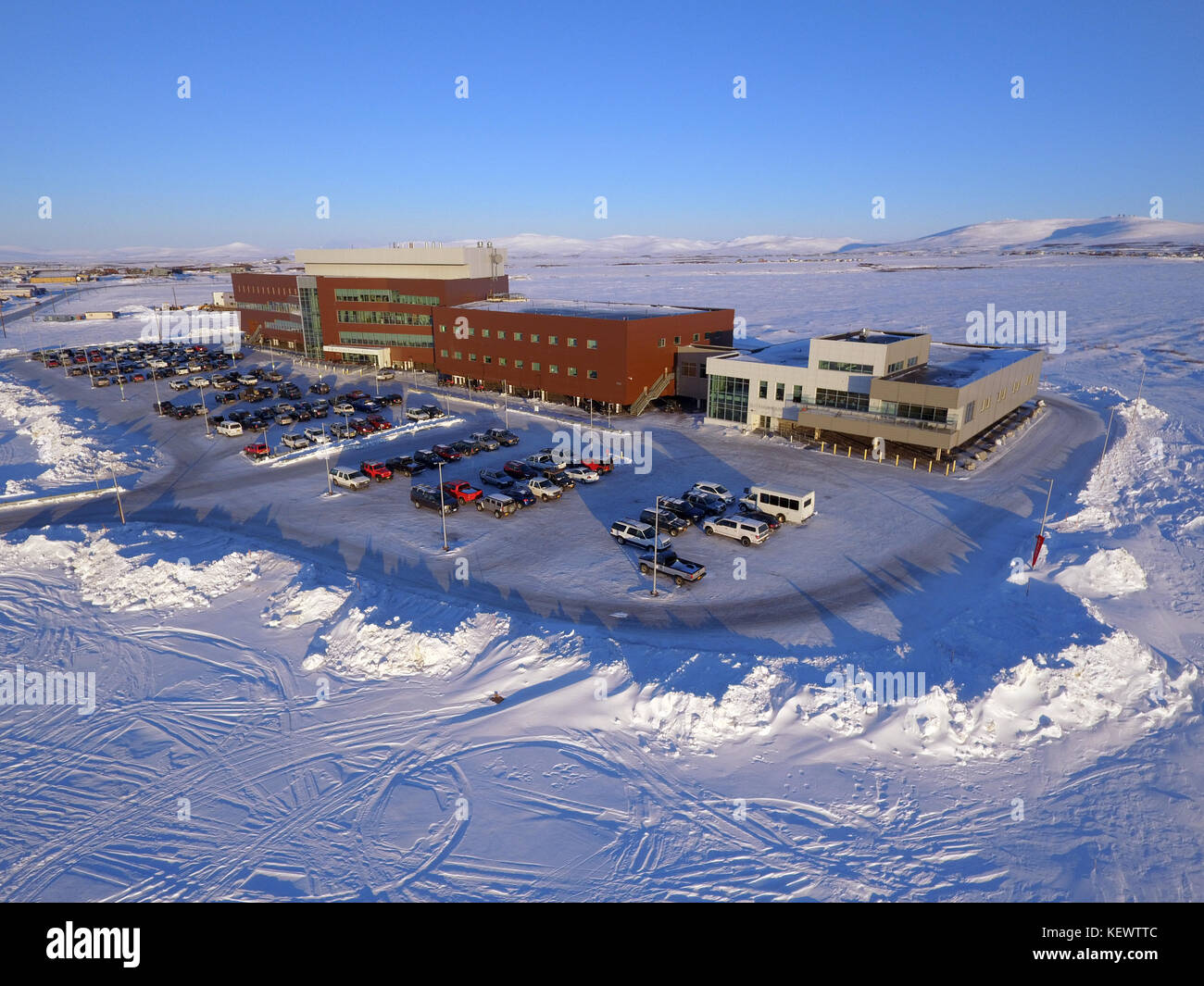 Norton Sound Regional Hospital in Nome Alaska an aerial photo. The new hospital for the people of the Seward Peninsula - Stock Image