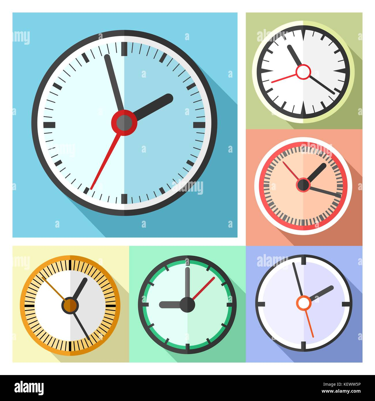 Modern Office Wall Clocks Icon Set