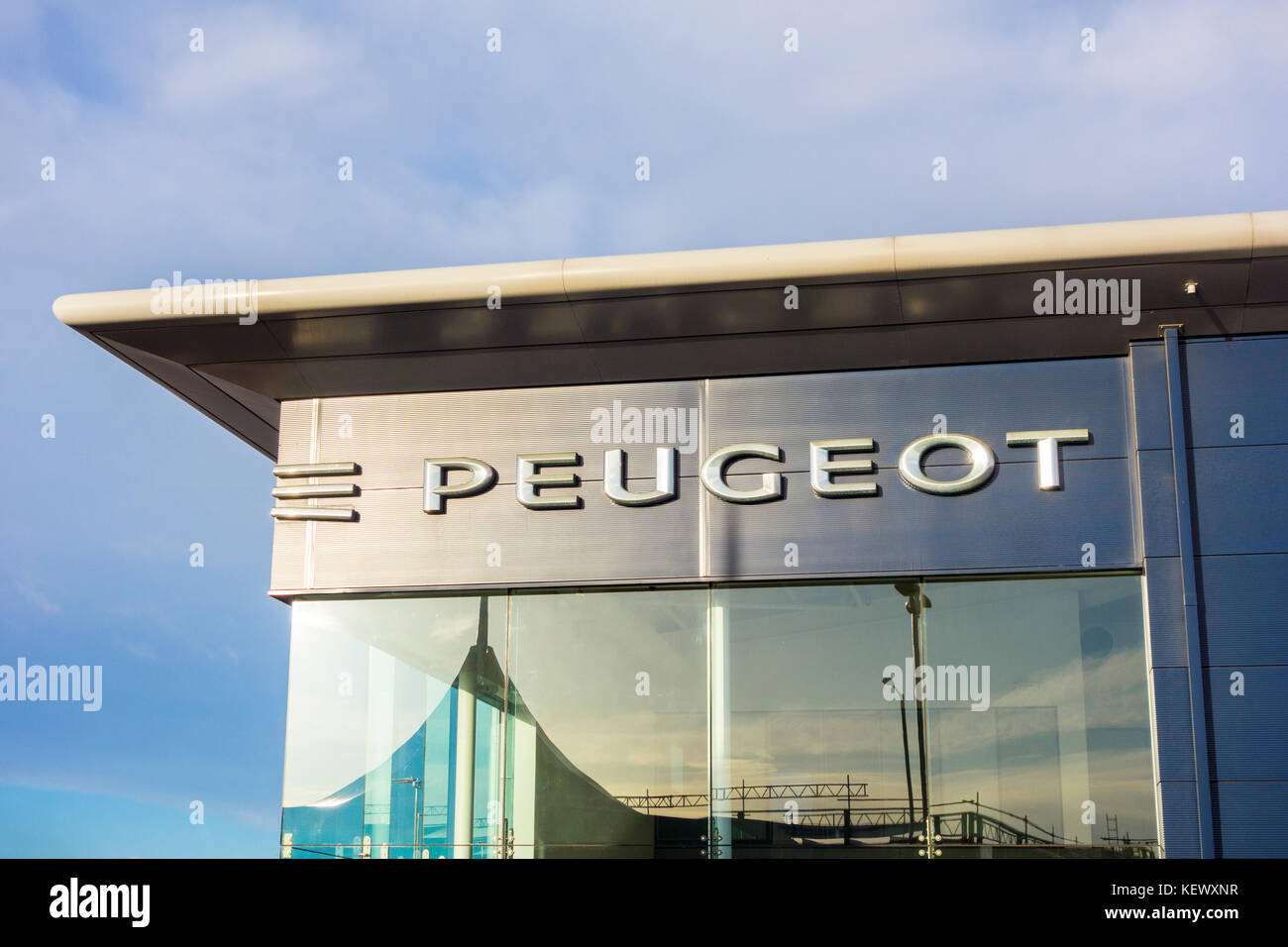 Peugeot, car, dealership, logo, auto, automobile, dealer, - Stock Image