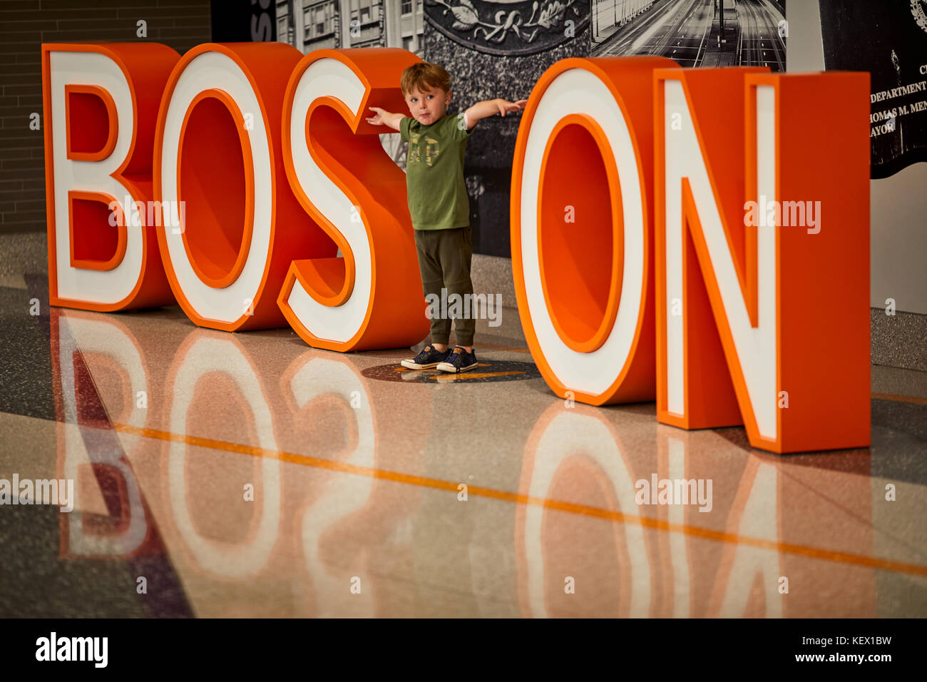 Boston Massachusetts New England North America USA , Logan International Airport Boston sign for passengers to pose - Stock Image