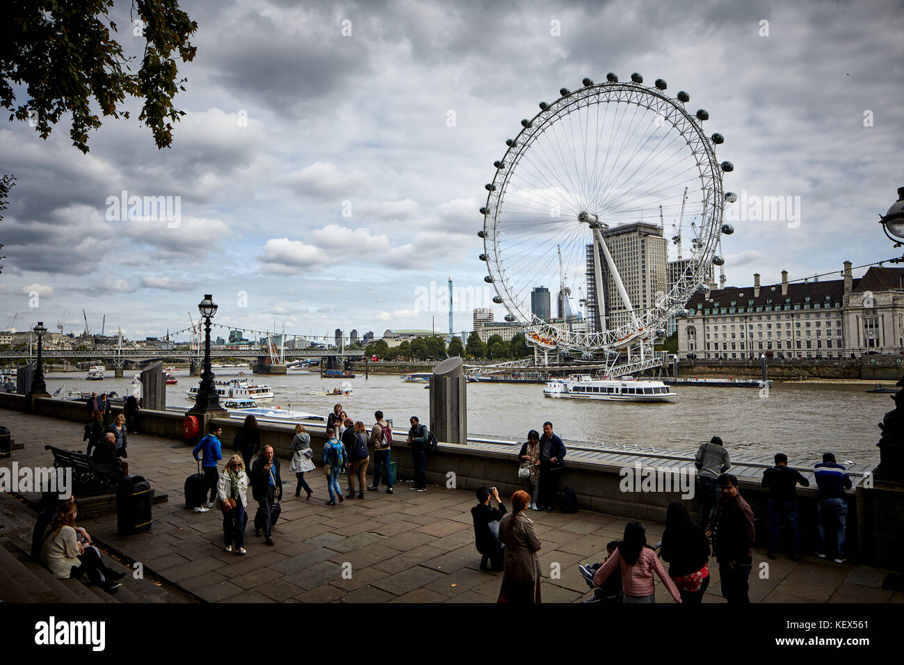 Merlin Entertainments London Eye giant Ferris wheel on the South Bank of the River Thames in London the capital - Stock Image