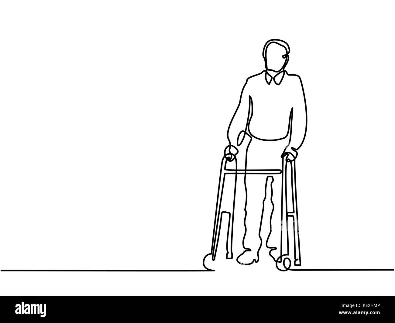 Old man using a walking frame - Stock Image