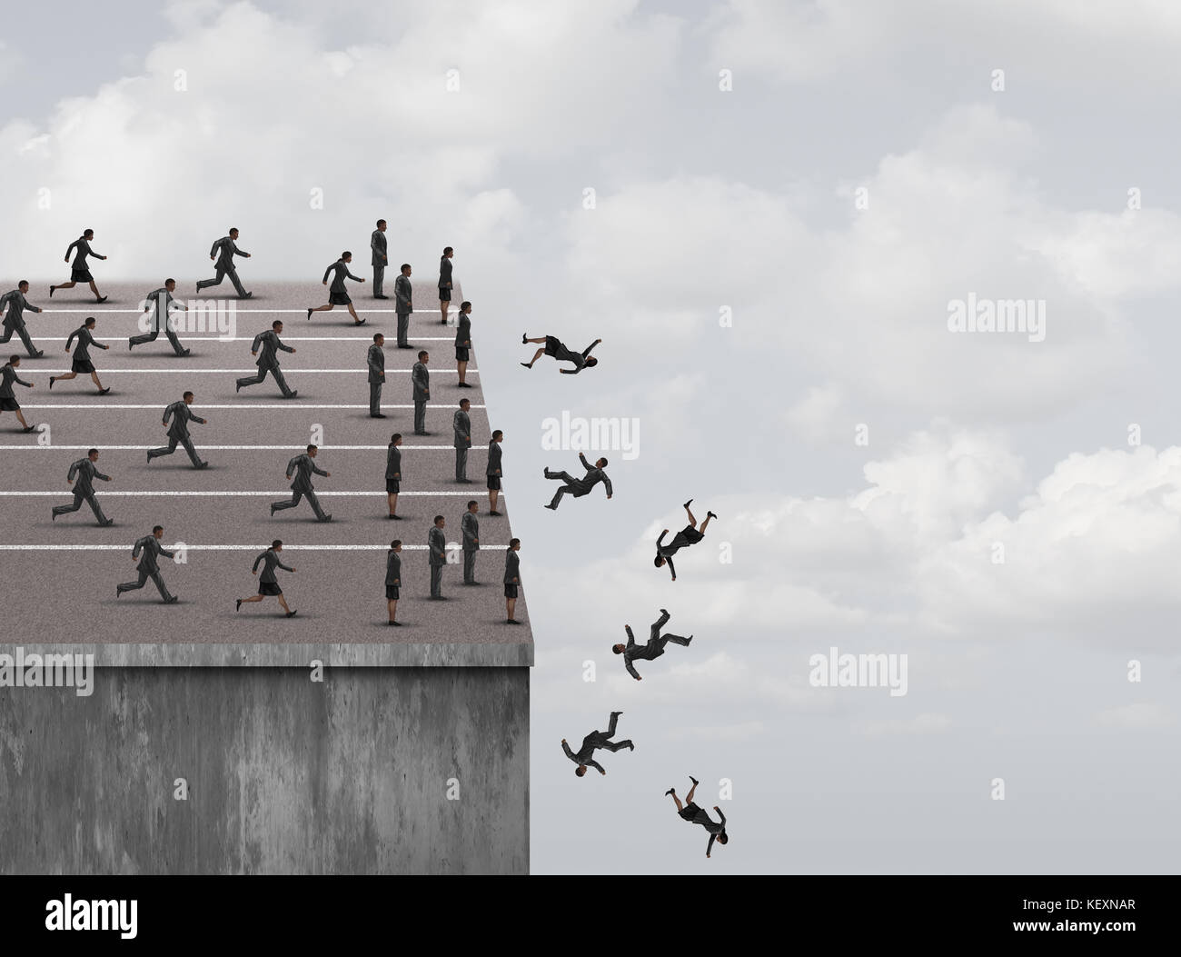 Fear of failure and limited opportunity or business career or job obstacles as a businesswoman and businessman running - Stock Image