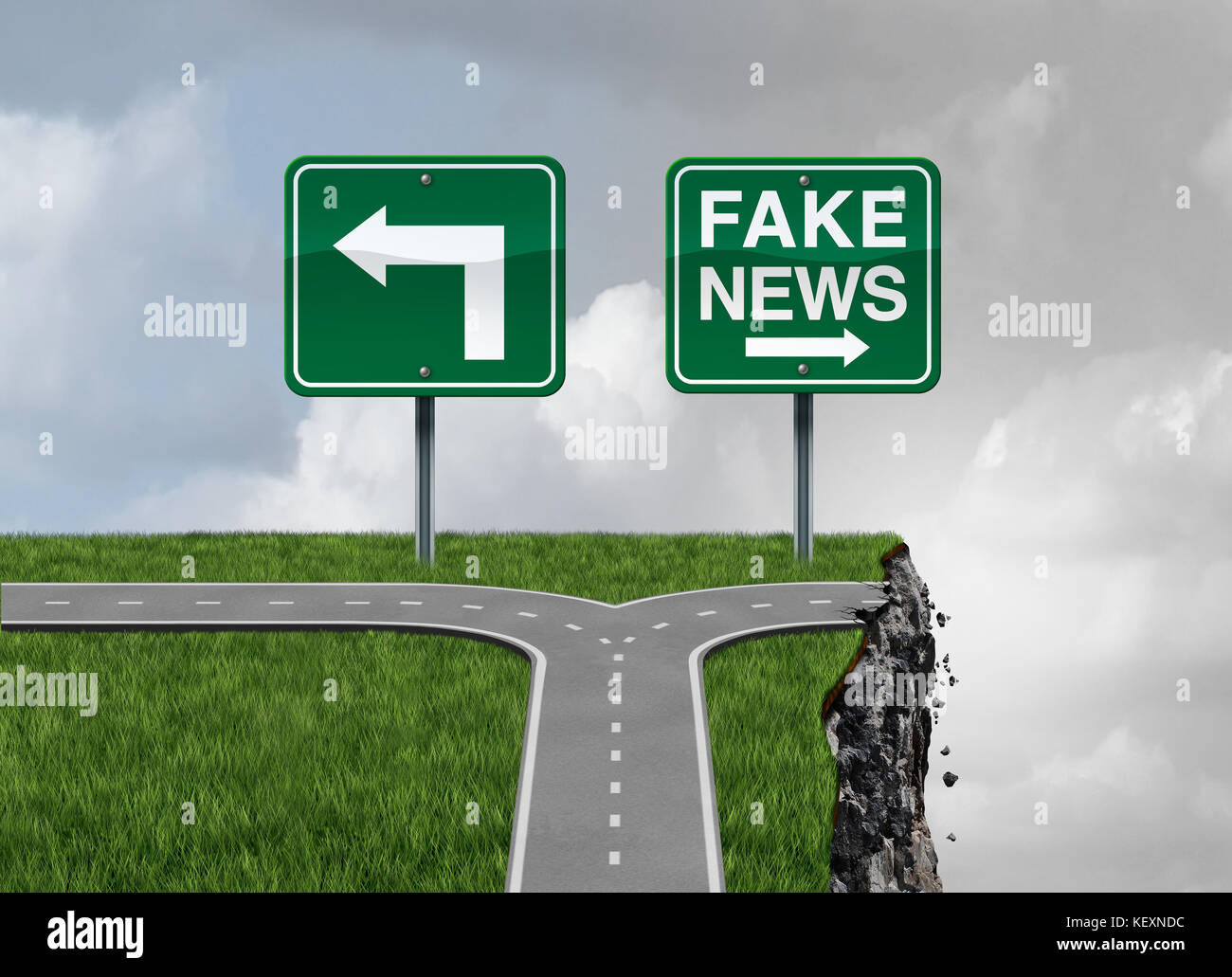 Fake news risk and alternative facts danger concept as a crossroad path with truth and false direction traffic sign - Stock Image