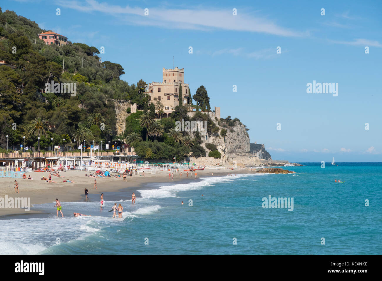 The beach of Finale Marina in Italian holiday region Finale Ligure at the Mediterranean Sea. - Stock Image